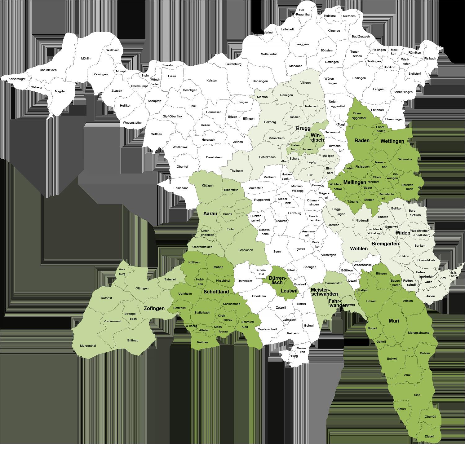 Wegbegleitung Aargau: Übersicht Vermittlungstellen im Aargau (Aargauer Karte mit Gemeinden)